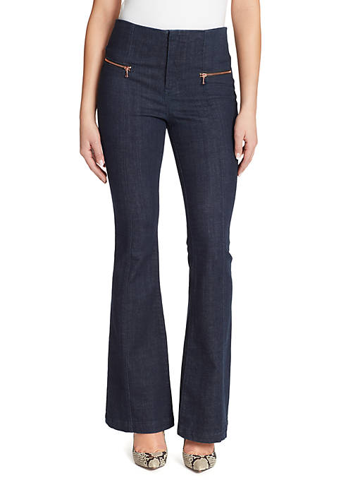 High Rise Polished Flared Jeans
