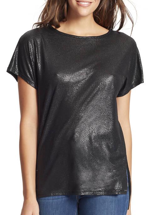 Skinny Girl Womens Amelie Short Sleeve Foil Top