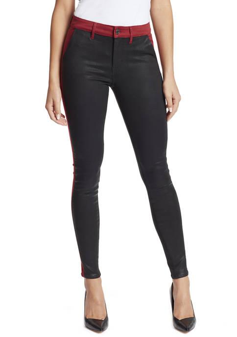Womens Skinny 2-Tone Coated Jeans