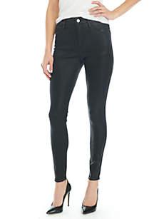 High Rise Skinny Black Coated Denim Jeans