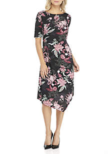 Floral Boat Neck Dress with Side Ruching