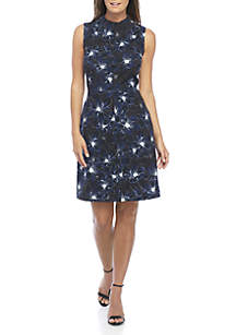 Sleeveless Mock Neck Floral Dress