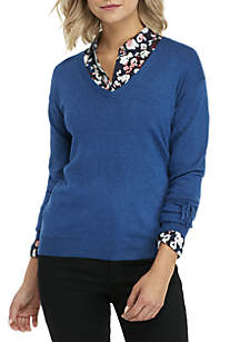 Long Sleeve V-Neck Pullover with Tie Sleeves