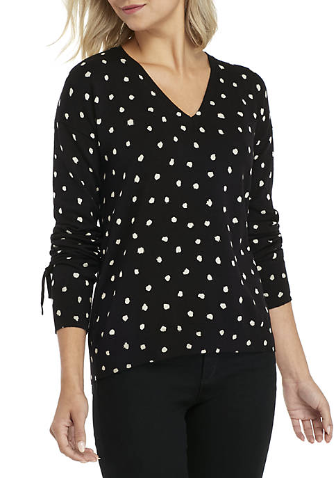 Ellen Tracy Long Sleeve V-Neck Pullover with Tie