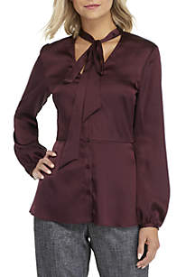 Tie Front Silk Blouse