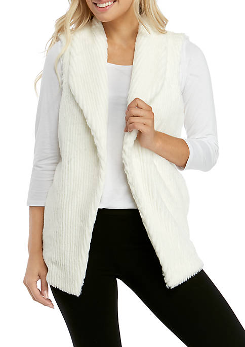 Ellen Tracy Womens Faux Fur Vest