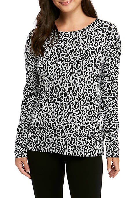 Ellen Tracy Womens Pullover Button Sleeve Sweater