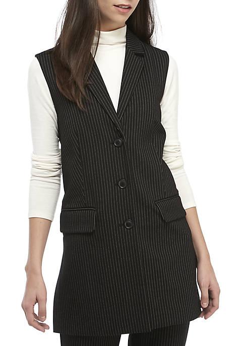 Ellen Tracy Long Pinstripe Vest with Side Slits