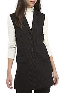 Long Pinstripe Vest with Side Slits