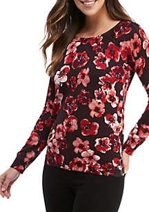 Cozy Blossom V-Back Pullover Sweater