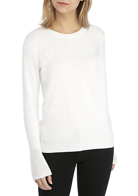 Ellen Tracy Sheer Flare Sleeve Top
