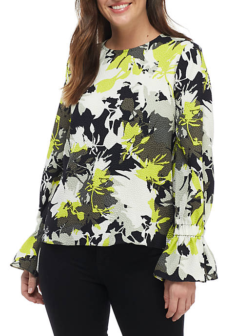 Ellen Tracy El Bosque Crew Neck Blouse