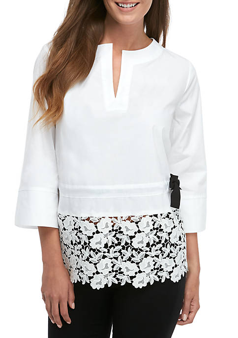 Peplum Top with Lace Trim