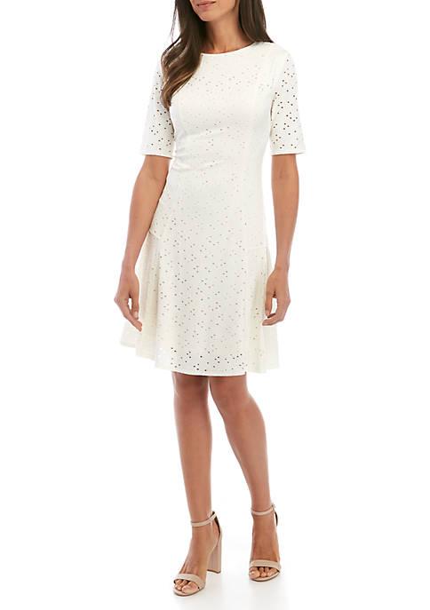 Elbow Sleeve A Line Dress
