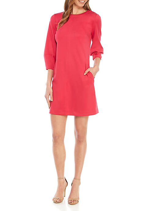 Ellen Tracy Ponte Dress with Seamed Sleeves