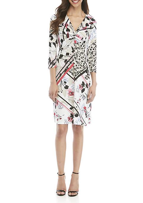 3/4 Sleeve Twist Front Dress