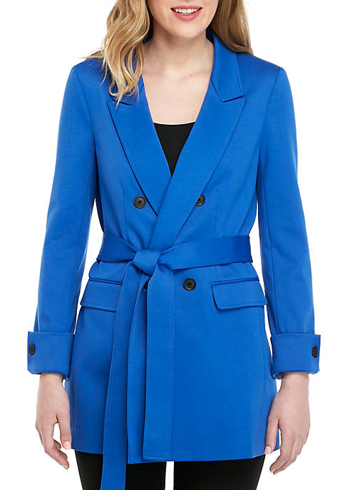 Ellen Tracy Tie Waist Double Breasted Jacket