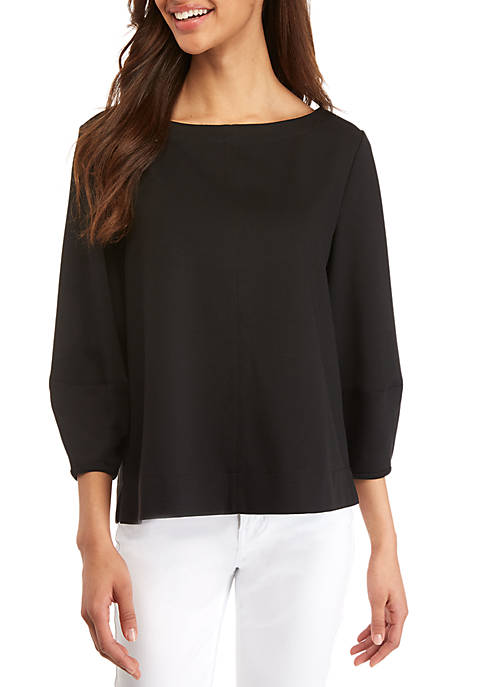 Ellen Tracy Boat Neck Ponte Top