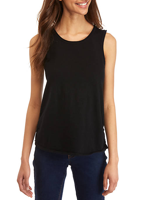 Ellen Tracy Womens Drape Front Sleeveless Knit Top