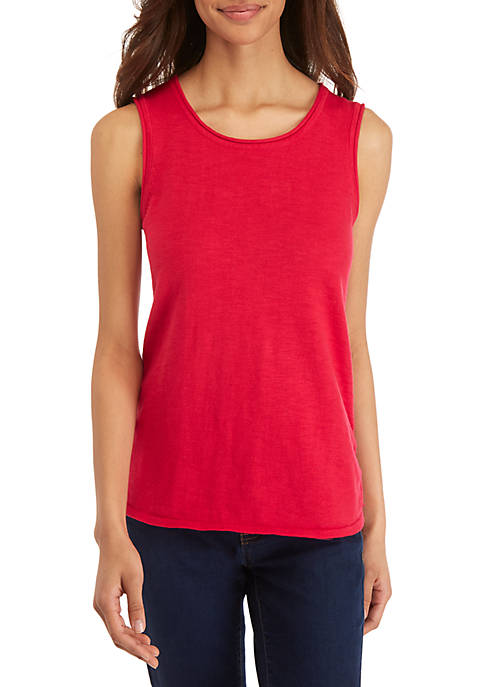 Ellen Tracy Drape Front Sleeveless Knit Top