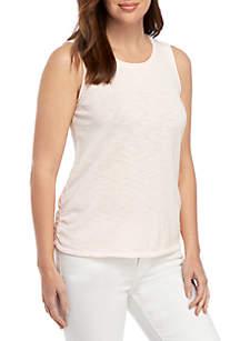 Ellen Tracy Drape Front Sleeveless Knit Top