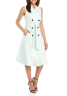 b0180873146e0d ... Ellen Tracy Sleeveless Double Breasted Trench Dress