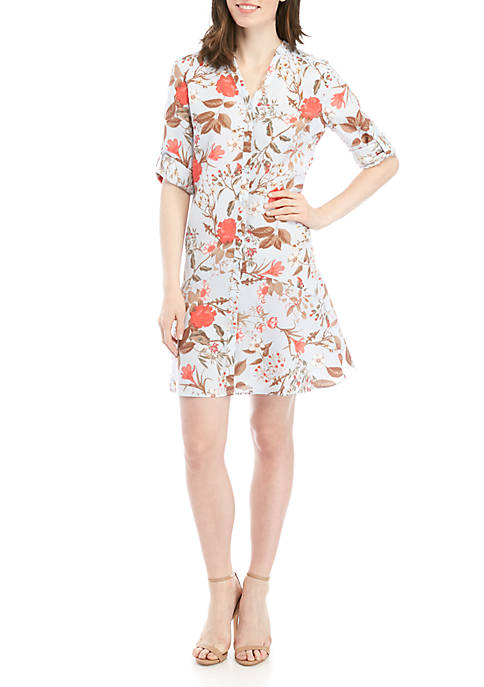 Ellen Tracy Flounce Hem Shirt Dress