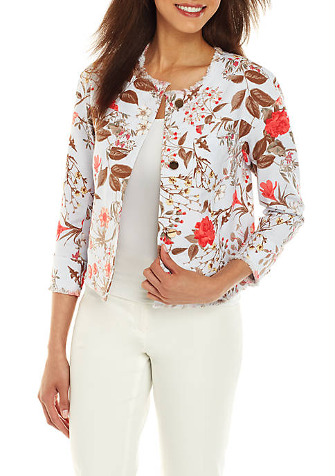 Collarless Button Front Jacket