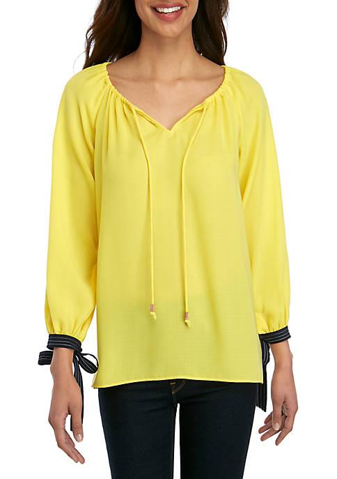 Ellen Tracy Blouson Tie Sleeve Elastic Neck Top