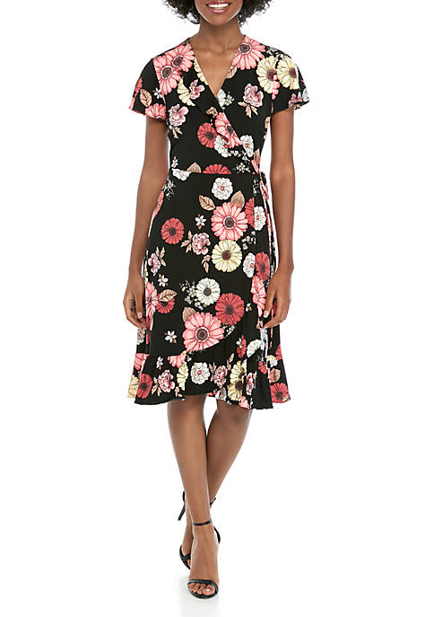 Flounce Sleeve Wrap Dress