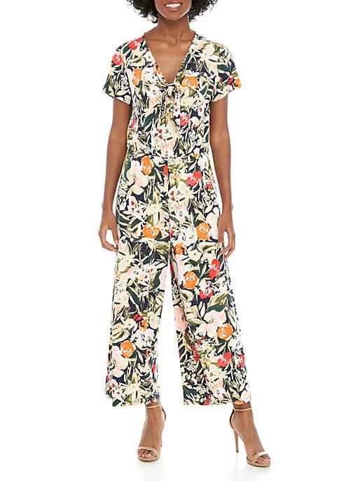 Tie Front Floral Jumpsuit