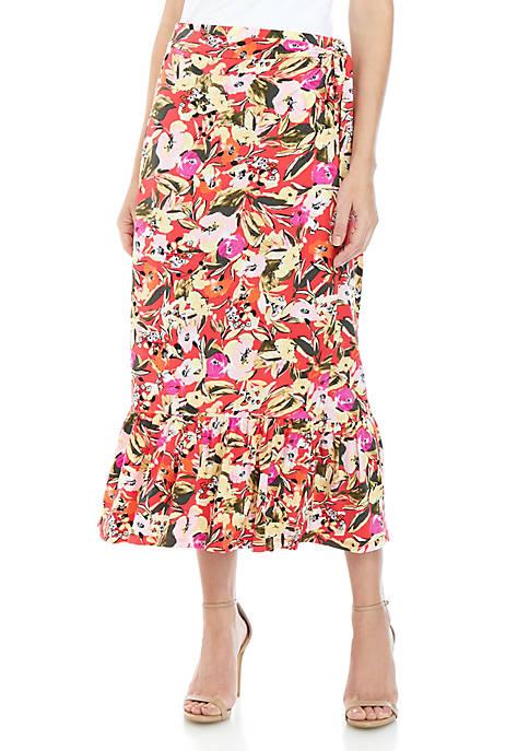 Ellen Tracy Flounce Hem Wrap Skirt