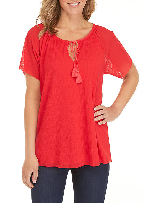 Ellen Tracy Flounce Sleeve Top with Tie Neck