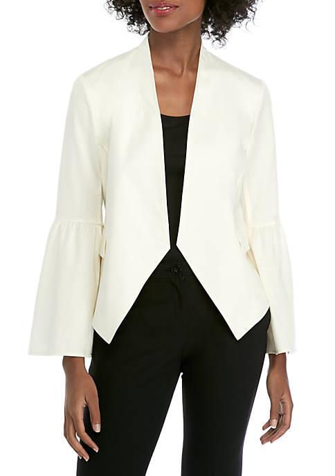 Ellen Tracy Flounce Sleeve Open Front Jacket