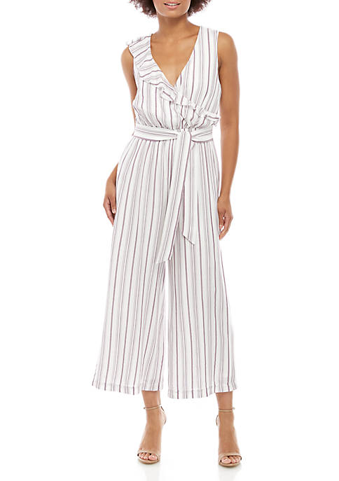 Ellen Tracy Asymmetrical Ruffle Jumpsuit