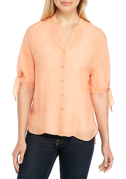 Button Front Tie Sleeve Top