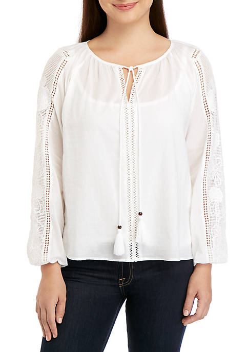 Ellen Tracy Lace Sleeve Peasant Blouse