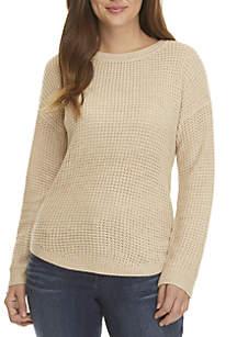 Plus Size Raglan Sleeve High Low Sweater
