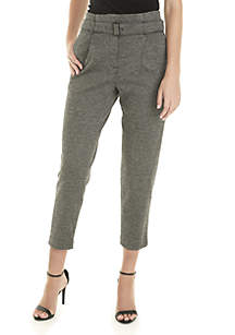 Pleated Tapered Pants with Belt