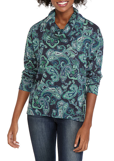 Jones New York Womens Cowl Neck Pullover