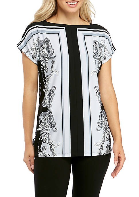 Jones New York Womens Scarf Print Top