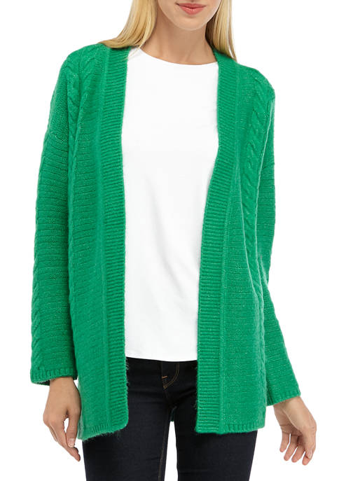 Jones New York Womens Long Sleeve Cable Knit