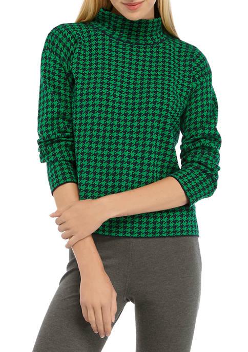 Jones New York Womens Long Sleeve Mini Houndstooth