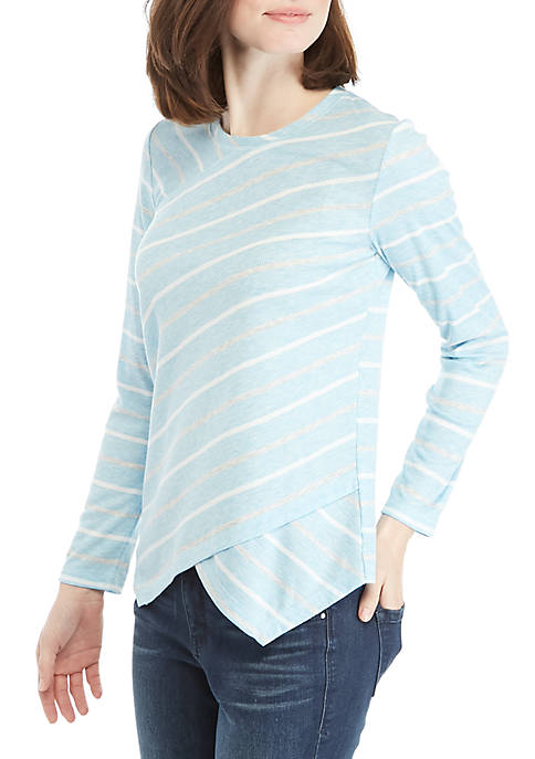 Jones New York Stripe Handkerchief Hem Top