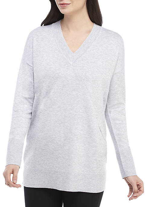 Jones New York Long Sleeve Deep V-Neck Sweater