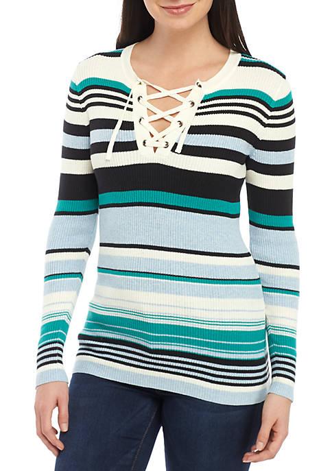 Long Sleeve Lace-Up V-Neck Stripe Top