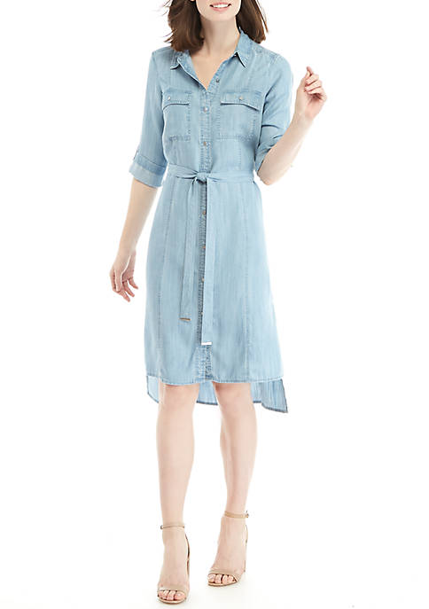 Jones New York Denim Shirt Dress with Side