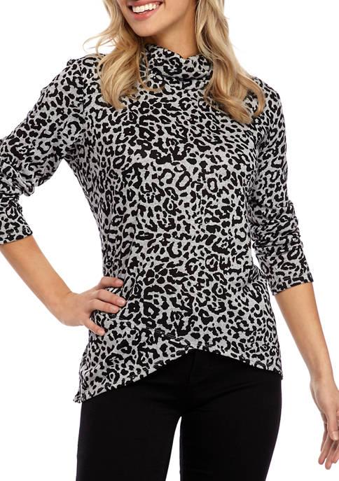Jones New York Womens Leopard Cowl Neck Top