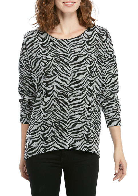 Jones New York Womens Long Sleeve Brushed Knit