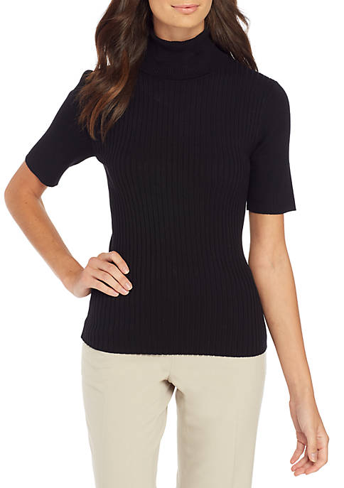 Jones New York Elbow Sleeve Turtleneck with Mixed